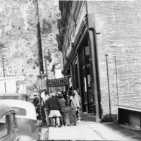 Crowd gathers on 6th Street in Georgetown, Colorado