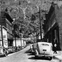 Cars are parked along 6th Street in Georgetown, Colorado